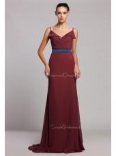 Spaghetti-Straps Tiered/Ruffles/Sash Sleeveless Satin Mermaid Zipper Floor-length Natural Ruby Bridesmaid Dress