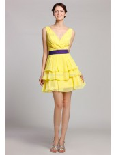 V-neck Natural Daffodil Zipper Tiered/Ruffles/Sash Mini Sleeveless Short-length Chiffon Bridesmaid Dress