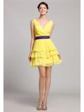 V-neck Natural Daffodil Zipper Tiered/Ruffles/Sash Mini Sleeveless Short-length Chiffon Bridesmaid Dress