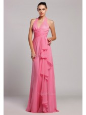 Sleeveless Floor-length Tiered/Ruffles Halter A-line Natural Zipper Chiffon Watermelon Bridesmaid Dress