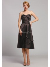 Black Natural Satin Ruffles A-line Knee-length Sweetheart Sleeveless Zipper Bridesmaid Dress