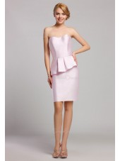 Pink Natural Satin Mini Zipper Sweetheart Short-length Sleeveless Ruffles Bridesmaid Dress