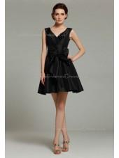 Sleeveless Ruffles/Bow V-neck Black Natural Short-length Taffeta Mini Zipper Bridesmaid Dress