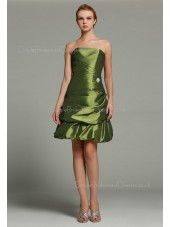 Natural Ruffles/Pick-ups Strapless Short-length Zipper Taffeta Green A-line Sleeveless Bridesmaid Dress