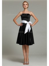 Natural Satin Knee-length Ruffles/Sash Sleeveless Strapless Black Zipper A-line Bridesmaid Dress