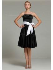 Natural Satin Knee-length Ruffles/Sash Sleeveless Strapless Black Zipper A-line Bridesmaid Dress