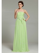 Ruffles/Sash/Bow Strapless Floor-length Sage Chiffon Sleeveless A-line Natural Zipper Bridesmaid Dress