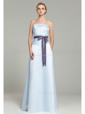 Sleeveless Satin Floor-length Ruffles/Sash A-line Strapless Zipper Light-Sky-Blue Natural Bridesmaid Dress