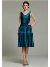 Elastic-Satin Knee-length Sleeveless Mermaid Ocean-Blue Dropped Zipper Ruffles V-neck Bridesmaid Dress