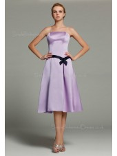 Sleeveless Satin A-line Lilac Zipper Dropped Strapless Ruffles/Sash/Bow Knee-length Bridesmaid Dress