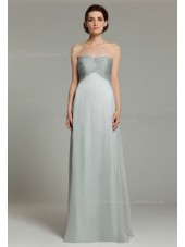Sweetheart Sleeveless Empire Ruffles Silver Chiffon Zipper Floor-length A-line Bridesmaid Dress