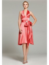 Ruffles/Sash Knee-length Watermelon Zipper Natural V-neck Elastic-Satin A-line Sleeveless Bridesmaid Dress