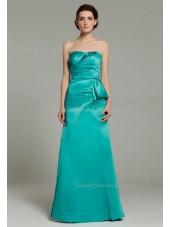 Elastic-Satin Sleeveless Sweetheart Natural Zipper A-line Ruffles/Applique/Beading/Bow Floor-length Hunter-Green Bridesmaid Dress