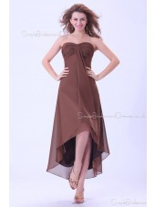 A-line Sweetheart Natural Ruffles Chiffon Floor-length Chocolate Zipper Sleeveless Bridesmaid Dress