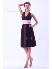 Sleeveless A-line Zipper halter Chocolate Taffeta Ruffles/Sash Natural Floor-length Bridesmaid Dress