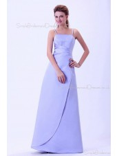 Zipper A-line Lavender Natural Ruffles Sleeveless Spaghetti-Straps Floor-length Satin Bridesmaid Dress