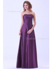 Grape A-line Sweetheart Sleeveless Natural Ruffles Taffeta Floor-length Zipper Bridesmaid Dress