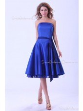 Royal-Blue Zipper Satin Ruffles/Sash A-line Sleeveless Natural Knee-length Strapless Bridesmaid Dress