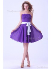 Natural Strapless Regency Short-length Zipper Sleeveless Chiffon Mini Ruffles/Sash Bridesmaid Dress