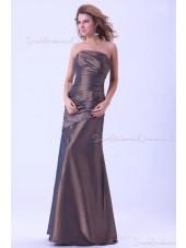Brown Ruffles Natural Mermaid Floor-length Zipper Sleeveless Taffeta Strapless Bridesmaid Dress