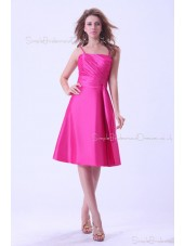 Ruffles/Sash Taffeta A-line Knee-length Natural Spaghetti-Straps Sleeveless Fuchsia Zipper Bridesmaid Dress