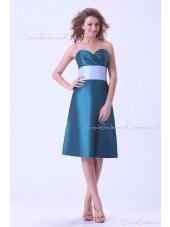 Blue Taffeta Ruffles/Sash Zipper A-line Sweetheart Natural Knee-length Sleeveless Bridesmaid Dress