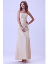 Sleeveless Satin Floor-length Up Ruffles Lace Champagne Strapless Sheath Natural Bridesmaid Dress