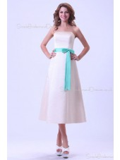 A-line Natural Sleeveless Tea-length Zipper Strapless Satin Ruffles/Sash Ivory Bridesmaid Dress