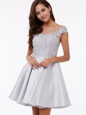 UK Vintage Silver / Grey Short Matte Satin Neck Cap Sleeves Appliques Bridesmaid Dress