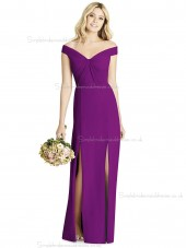 Fashion Regency Purple Chiffon off the shoulder Floor Length Bridesmaid Dress