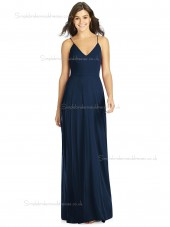 Beautiful Girls Dark Navy Floor Lengh Chiffon A line Bridesmaid Dress
