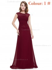 Online Amazing Round Neck Long Elegant Sexy Burgundy / Regency / Grape / Royal Blue / Blue Bridesmaid  Dress