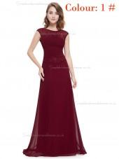Online Amazing Round Neck Long Elegant Sexy Burgundy / Regency / Grape / Royal Blue / Blue Bridesmaid  Dress