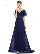 Budget Discount Navy Long Chiffon Bridesmaid Dress