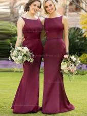 Classic Beautiful Girls Burgundy / Purple Satin Mermaid Long Bridesmaid Dress