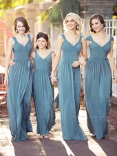 2017 Beautiful Amazing Long V-neck  A-line Bridesmaid Dress