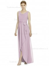 Budget Long Suede Rose Naturl Waist Chiffon Beteau Sleeveless Bridesmaid Dress