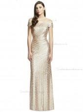 Elegant Girls Rose Gold Mermaid Flooor-length Studio Sequin Naturl Waist Off-the-shoulder Bridesmaid Dress