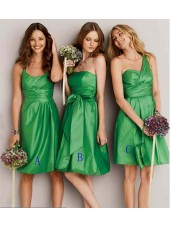 Taffeta Green Bow/Ruffles Empire Strapless Bridesmaid Dress