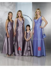 Floor-length Zipper A-line Taffeta V-neck Bridesmaid Dress