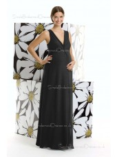 Zipper Natural Chiffon V-neck Black Floor-length A-line Maternity Bridesmaid Dress