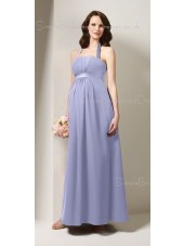 A-line  Draped , Ruffles Chiffon Spaghetti straps Tea-length Blue Sleeveless Zipper Natural Maternity Bridesmaid Dresses