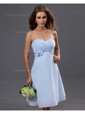 Sleeveless A-line Chiffon Natural Sweetheart Ruffles/Flowers Knee-length Light-Sky-Blue Zipper Bridesmaid Dress