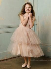 Tea-length Champagne A-line Bowknot / Tiered / Hand Organza Bateau Sleeveless Made Flower Flower Girl Dress