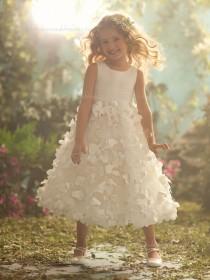 Tea-length Made Champagne Flower Sleeveless Organza Scoop A-line Hand Flower Girl Dress