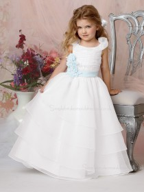 Made Sleeveless Organza Floor-length Flower Hand White A-line Bateau Flower Girl Dress