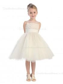 A-line Knee-length Champagne Organza Neck Applique Sleeveless High Flower Girl Dress