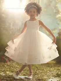 Ivory A-line Tea-length Organza Tiered / Applique / Beading Sleeveless Bateau Flower Girl Dress