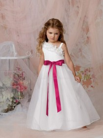 Asymmetric Made Sleeveless A-line Organza White Bowknot / Hand Flower Floor-length Flower Girl Dress