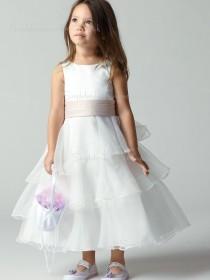 Organza Ankle Tiered / Sash Sleeveless Ivory Bateau Length A-line Flower Girl Dress